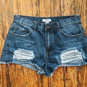 Distressed Ripped Festival Jean Bootie Shorts 29